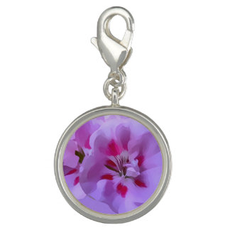 Violet Pink Abstract Hibiscus Flower Charm