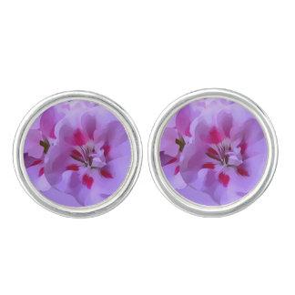 Violet Pink Abstract Hibiscus Flower Cufflinks