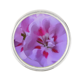 Violet Pink Abstract Hibiscus Flower Lapel Pin