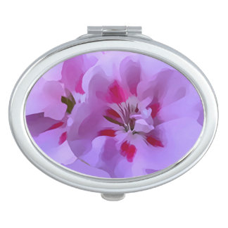 Violet Pink Abstract Hibiscus Flower Mirror For Makeup