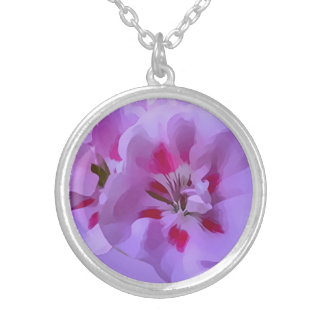 Violet Pink Abstract Hibiscus Flower Silver Plated Necklace