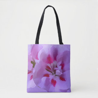 Violet Pink Abstract Hibiscus Flower Tote Bag