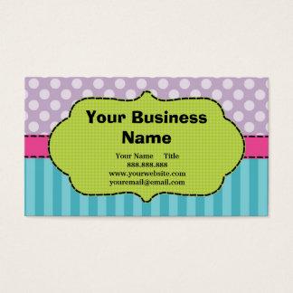 Violet, Pink, Blue, Polka Dots and Stripes. Business Card