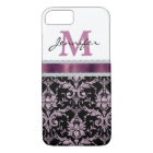 Violet Pink Damask Faux Diamond Monogram iPhone 8/7 Case