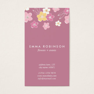 Violet pink exotic hawaiian flowers feminine cute business card