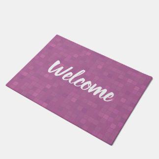 Violet pink pixels mosaic door mat. doormat