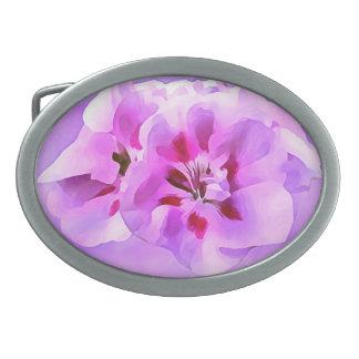 Violet Pink Watercolor Hibiscus Oval Belt Buckle