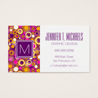 Violet Polka Dot Pattern Business Card