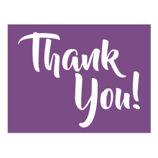 Violet Purple and White Calligraphy Thank You Postcard
