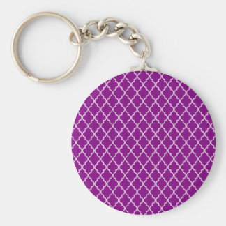 Violet Purple And White Moroccan Trellis Pattern Keychain