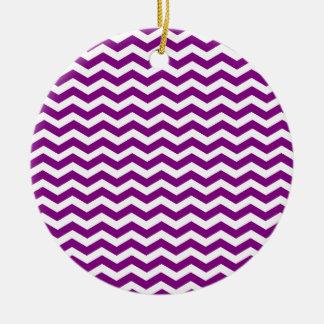 Violet Purple And White Zigzag Chevron Pattern Ceramic Ornament