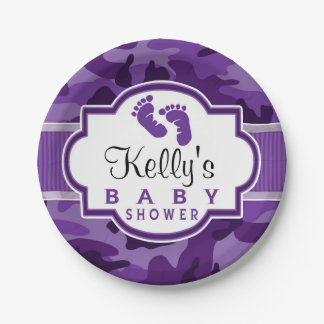 Violet Purple Camo, Camouflage Baby Shower Paper Plate