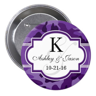 Violet Purple Camo, Camouflage Wedding Button
