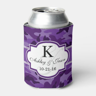 Violet Purple Camo, Camouflage Wedding Can Cooler