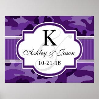 Violet Purple Camo, Camouflage Wedding Poster