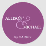 Violet purple custom ampersand wedding favour round stickers