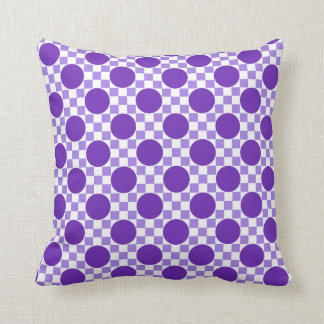 Violet purple dots and light indigo squares retro throw pillows