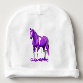 Violet Purple Dripping Wet Paint Horse Baby Beanie