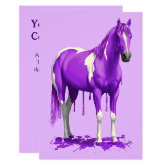 Violet Purple Dripping Wet Paint Horse Card
