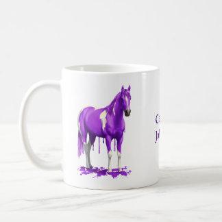 Violet Purple Dripping Wet Paint Horse Coffee Mug