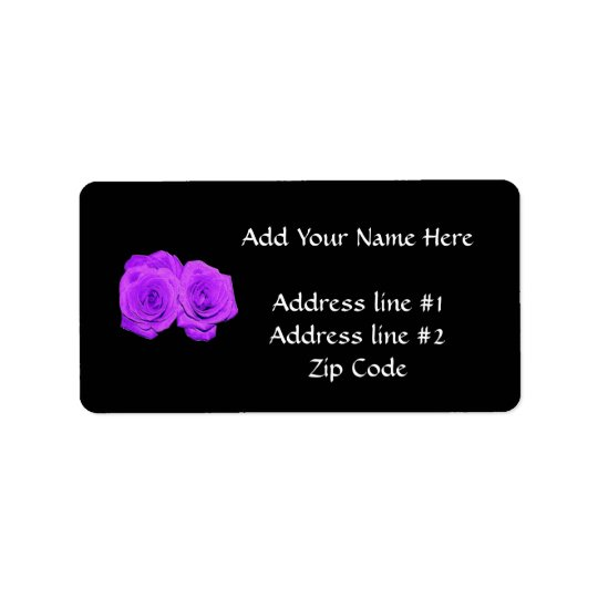 "Violet/Purple ""Enameled"" Roses Label"