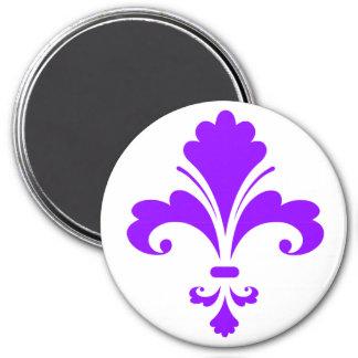Violet Purple Fleur-de-lis 3 Inch Round Magnet