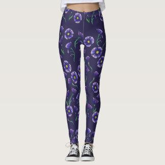 Violet Purple Flower Leggings