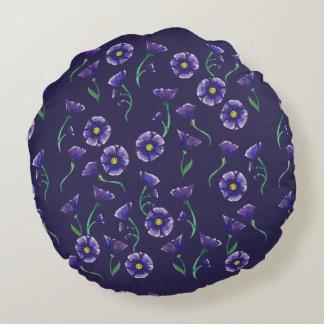 Violet Purple Flower Round Pillow