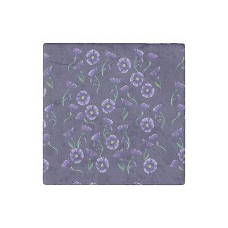 Violet Purple Flower Stone Magnets