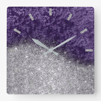 Violet Purple Glitter Silver Gray Velvet Eggplant Square Wall Clock