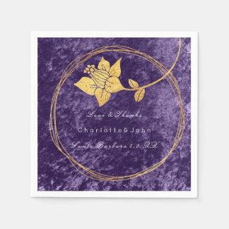 Violet Purple Gold Floral Event Bridal Wedding Paper Napkin