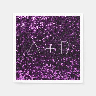 Violet Purple Grape Plum Sequin Sparkly Glitter Disposable Napkin