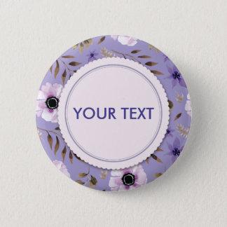 Violet Purple hand drawn floral frame 2 Inch Round Button