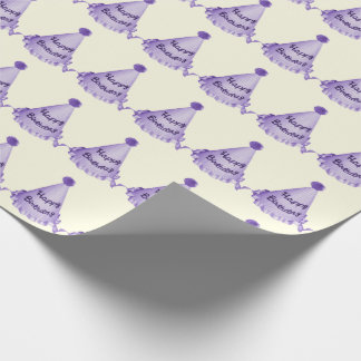 Violet Purple Happy Birthday Hats Pattern Wrapping Paper