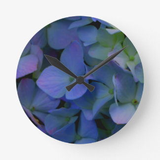 Violet purple hydrangeas round clock