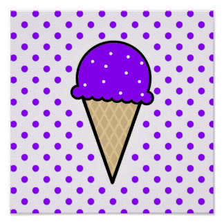 Violet Purple Ice Cream Cone Print