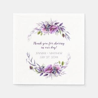 Violet Purple Lavender Wildflowers Reception | Disposable Napkin