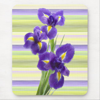 Violet Purple Lilac Irises Watercolor Art Painting Mouse Pad
