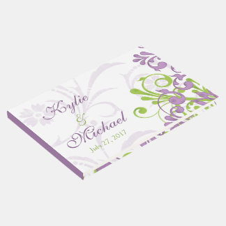 Violet Purple Lime Green Floral Wedding Guest Book