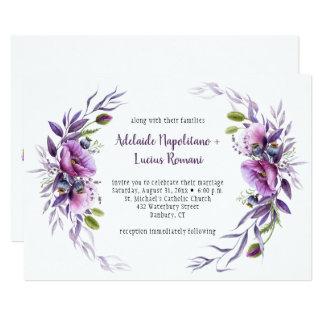 Violet Purple Mauve Wildflowers Frame Wedding | Card