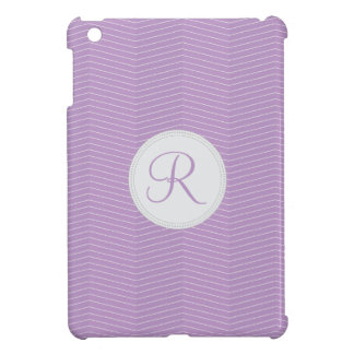 Violet Purple Monogram Thin Chevron Pattern iPad Mini Cover