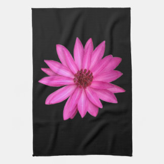 Violet Purple Pink Lotus Flower Black Towel