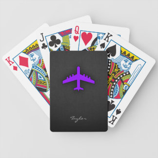 Violet Purple Plane; Pilot Bicycle Playing Cards