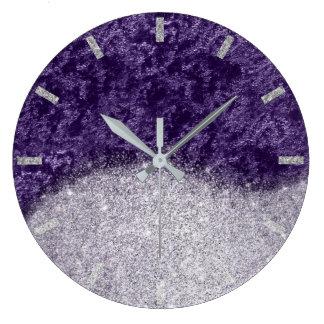 Violet Purple Silver Gray Velvet Eggplant Glitter Large Clock