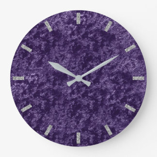 Violet Purple Silver Gray Velvet Eggplant Grape Large Clock