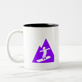 Violet Purple Snowboarder Two-Tone Coffee Mug