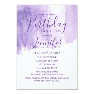 Violet Purple Watercolor Splash Birthday Party Card
