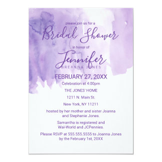 Violet Purple Watercolor Splash Bridal Shower Card