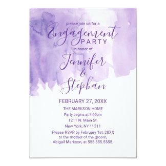 Violet Purple Watercolor Splash Engagement Card