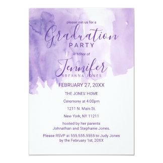 Violet Purple Watercolor Splash Graduation Party Card